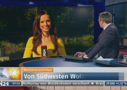 TV Moderatorin Susanne Schöne on air Außendreh Berlin